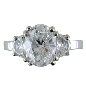 Oval Brilliant 2.82 Carat Diamond with Half Moon Side Diamonds Engagement Ring