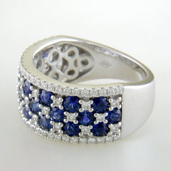 S Kashi Sapphire & Diamond Wide Right Hand Cocktail Ring 18K