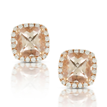 Doves 18K Rose Gold Morganite Square Cushion Earrings with Diamond Halo E7922MG