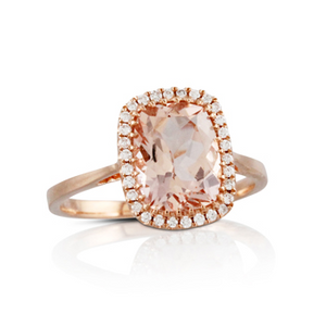 Doves 18K Rose Gold North/South Morganite Ring with Diamond Halo LB271MG-1