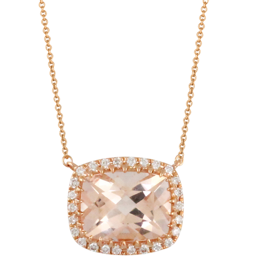 Doves 18K Rose Gold East/West Morganite Necklace with Diamond Halo N9060MG