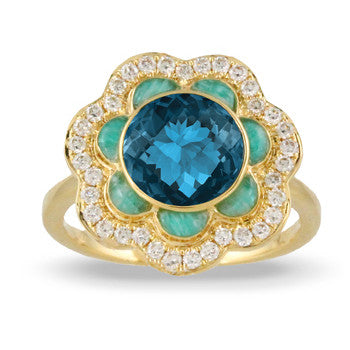 Doves 18 Karat Yellow Gold London Blue Topaz and Amazonite Floral Ring R8974AZLBT