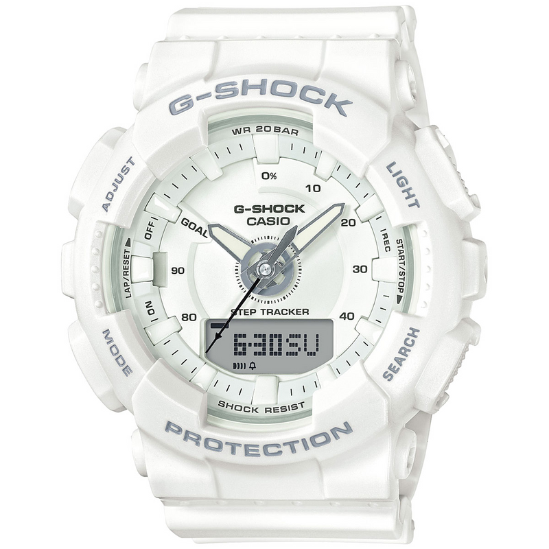 Casio G-Shock Step Tracker S Series White Ladies Watch GMAS130-7A