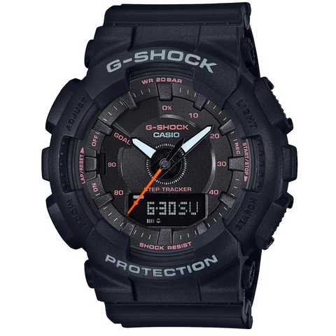 Casio G-Shock Step Tracker S Series All Black Ladies Watch GMAS130VC-1A