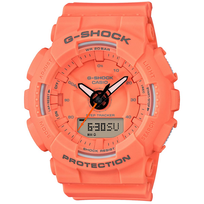 Casio G-Shock Step Tracker S Series Orange Ladies Watch GMAS130VC-4A