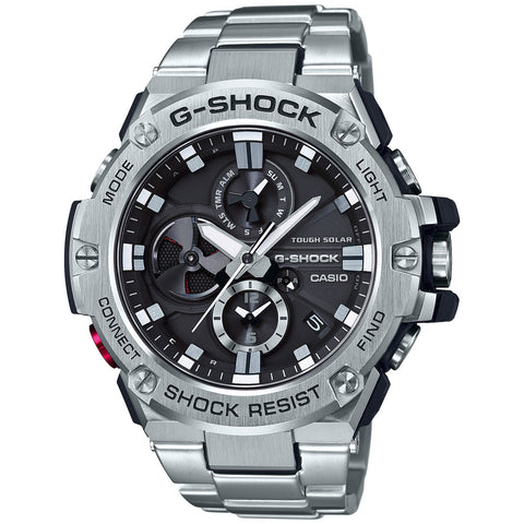 Casio G-Shock G-Steel All Stainless Steel Bluetooth Chronograph Mens Watch GSTB100D-1A