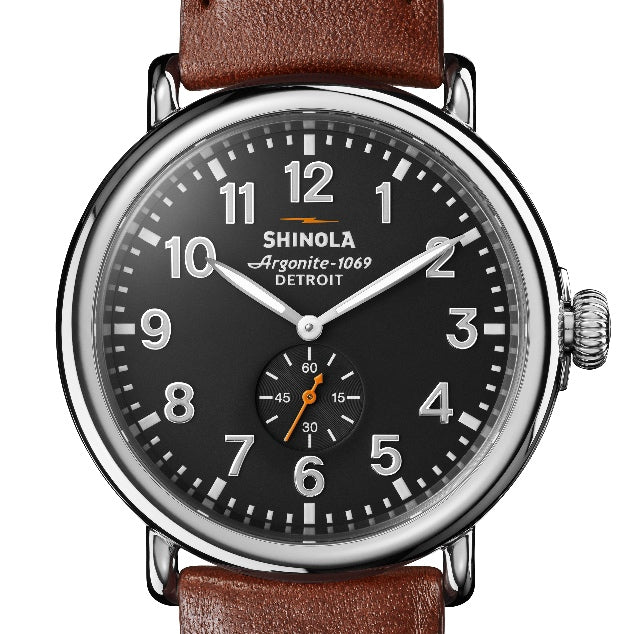 Shinola 47MM Runwell Cool Gray Dial Cognac Leather Watch S0120018330