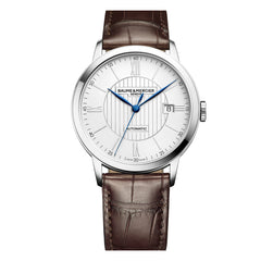 Baume & Mercier 40MM Classima Automatic Silver Dial Brown Alligator Mens Watch M0A10214