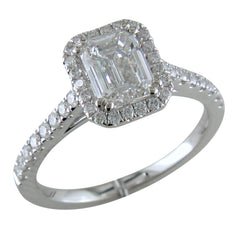 Emerald Cut Diamond Halo White Gold Engagement Ring custom stamford ct