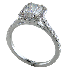 Emerald Cut Diamond Halo White Gold Engagement Ring custom connecticut