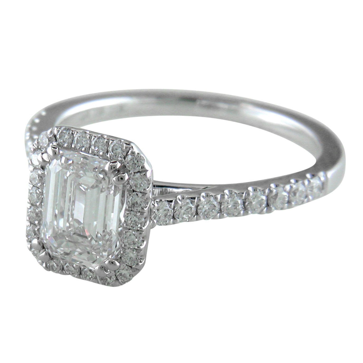 Emerald Cut Diamond Halo White Gold Engagement Ring custom design