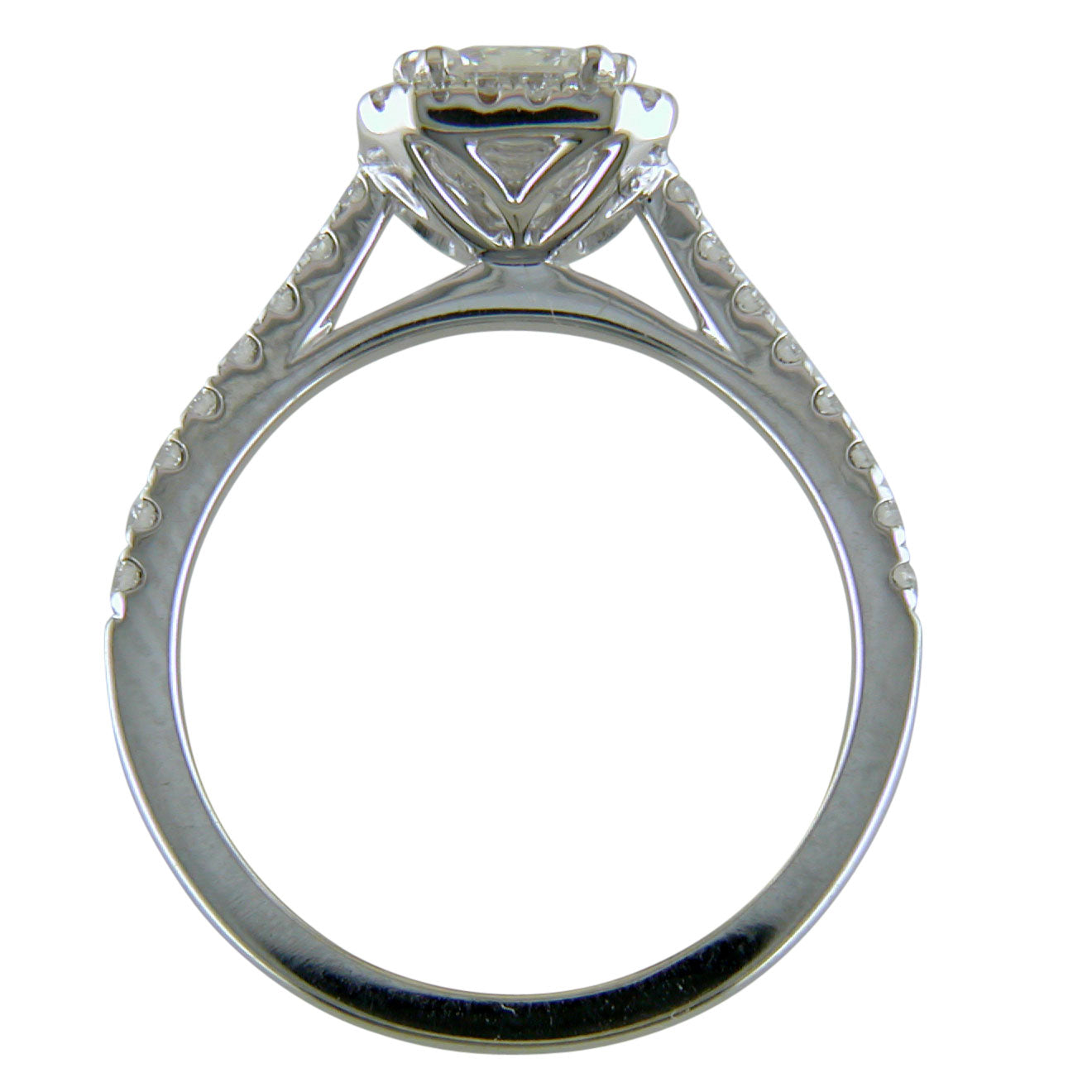 Emerald Cut Diamond Halo White Gold Engagement Ring