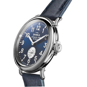 Shinola 41MM Mens Runwell Midnight Blue Dial Ocean Nappa Leather Strap Watch 0120044133