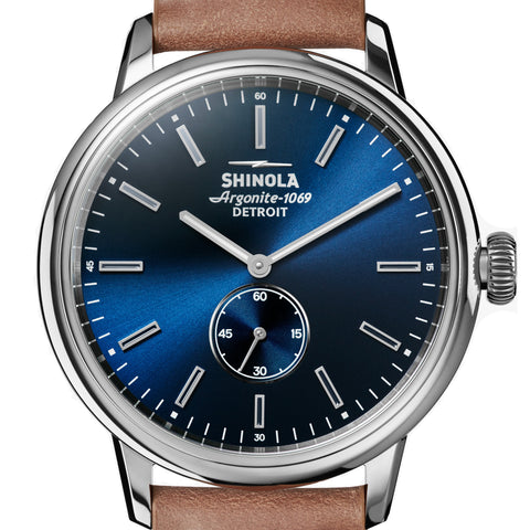 Shinola Mens 42MM Midnight Blue Dial Bedrock Quartz Natural Cordovan Strap Watch 20058979