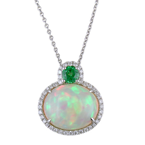Spark Oval Opal Pendant Necklace with Diamond Halo & Green Tsavorite in 18K White Gold