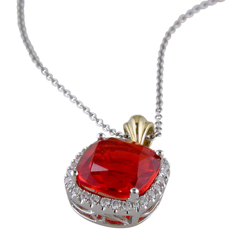 Spark Natural Fire Opal Pendant Necklace with Diamond Halo in 18K White Gold