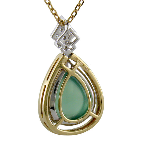 Spark Pear Shape Prehnite Pendant Necklace with Diamonds in 18K White Gold