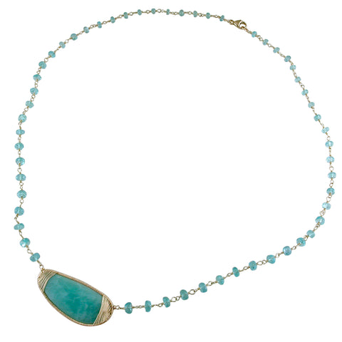 "Dana Kellin Fine Amazonite & Apatite Bead Necklace 14K Yellow Gold 18"" Long"