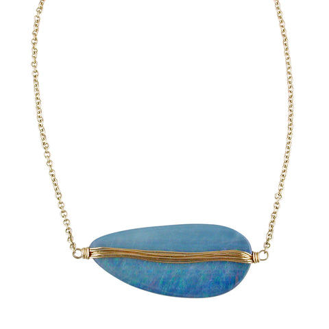 "Dana Kellin Fine Opal Doublet Necklace 14K Yellow Gold 18"" Long"