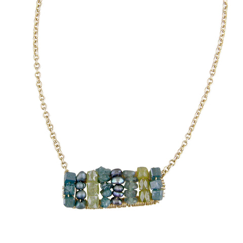 "Dana Kellin Fine Green Sapphire, Pearl, (Teal) Greenish-Blue Diamond Bead Necklace 14K Yellow Gold 18"" Long"