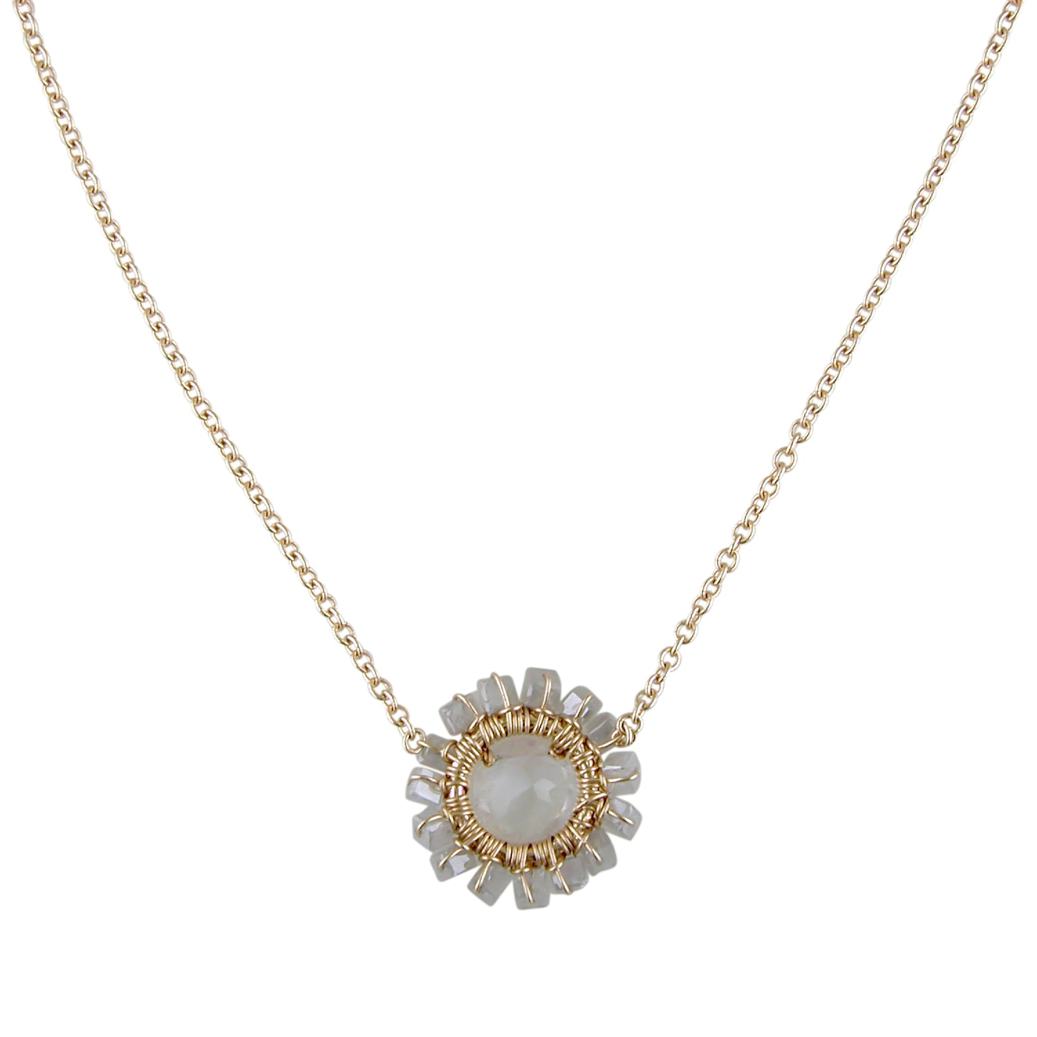 Dana Kellin Grey Diamond Bead & Rainbow Moonstone Round Flower Necklace 14K