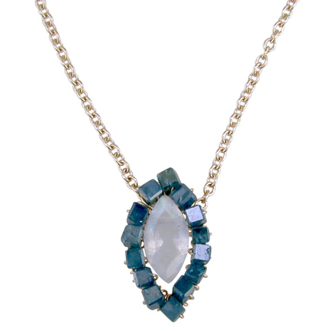 Dana Kellin Fine Greenish-Blue (Teal) Diamond Bead & Rainbow Moonstone Evil Eye Necklace 14K