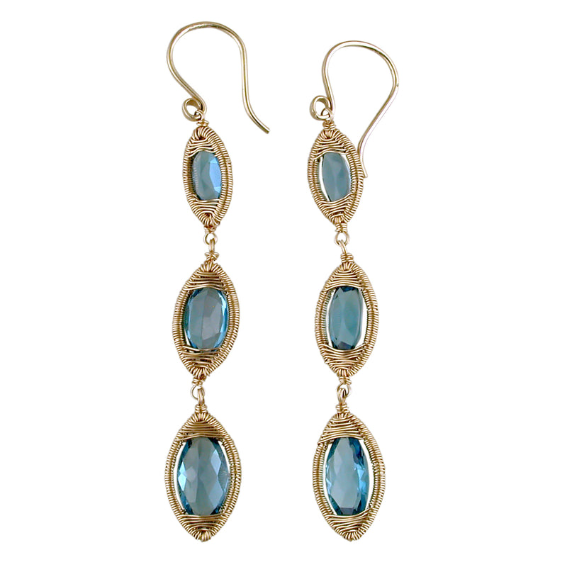 Dana Kellin Fine London Blue Topaz Triple Drop Yellow Gold Spun Wire Dangle Earrings
