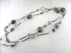 "Dana Kellin Fine Rutilated Quartz, Pearl, Fossil Large Necklace 14K Yellow Gold and Oxidized Silver 38"" Long"