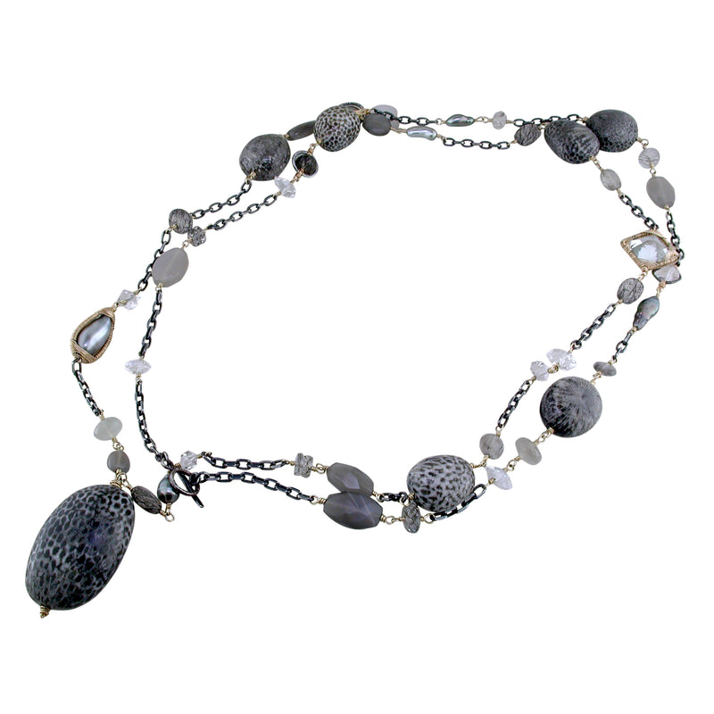Dana Kellin Fine Rutilated Quartz, Pearl, Fossil Large Necklace 14K Yellow Gold and Oxidized Silver 38