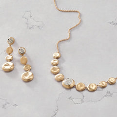 Marco Bicego CB2227 B YW 8 Graduated Flat Round Pebble & Jaipur Diamond Necklace