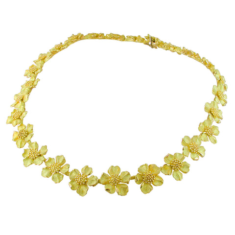Vintage Estate Tiffany & Co. 18K Yellow Gold Wild Rose Dogwood Flower Choker Necklace 16""