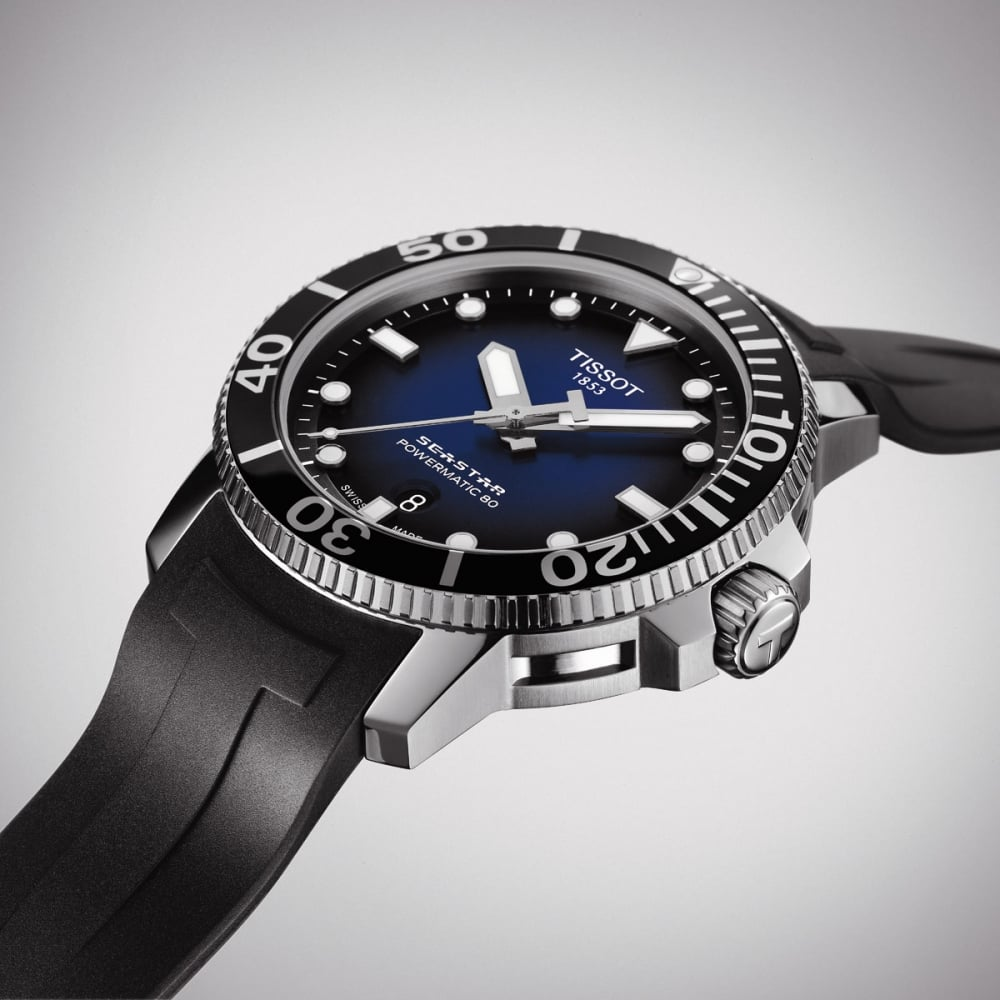 TISSOT SEASTAR 1000 Powermatic 80 Blue Steel 43mm Rubber Dive Watch  T120.407.17.041.00