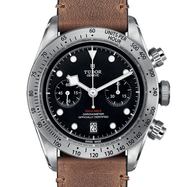 Certified Pre-owned Tudor Black Bay Chrono Watch Steel 41mm Aged Leather 79350 MT5813 2017