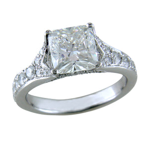 Cushion Modified Brilliant 1.70 Carat Diamond Platinum Custom Split Shank Engagement Ring