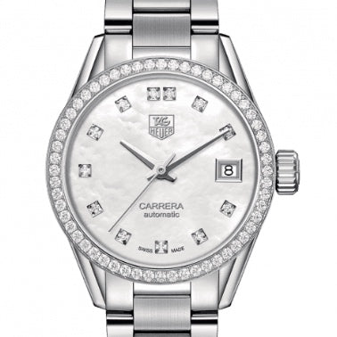 TAG Heuer 28MM Carrera Automatic Mother of Pearl Diamond Watch WAR2415.BA0776