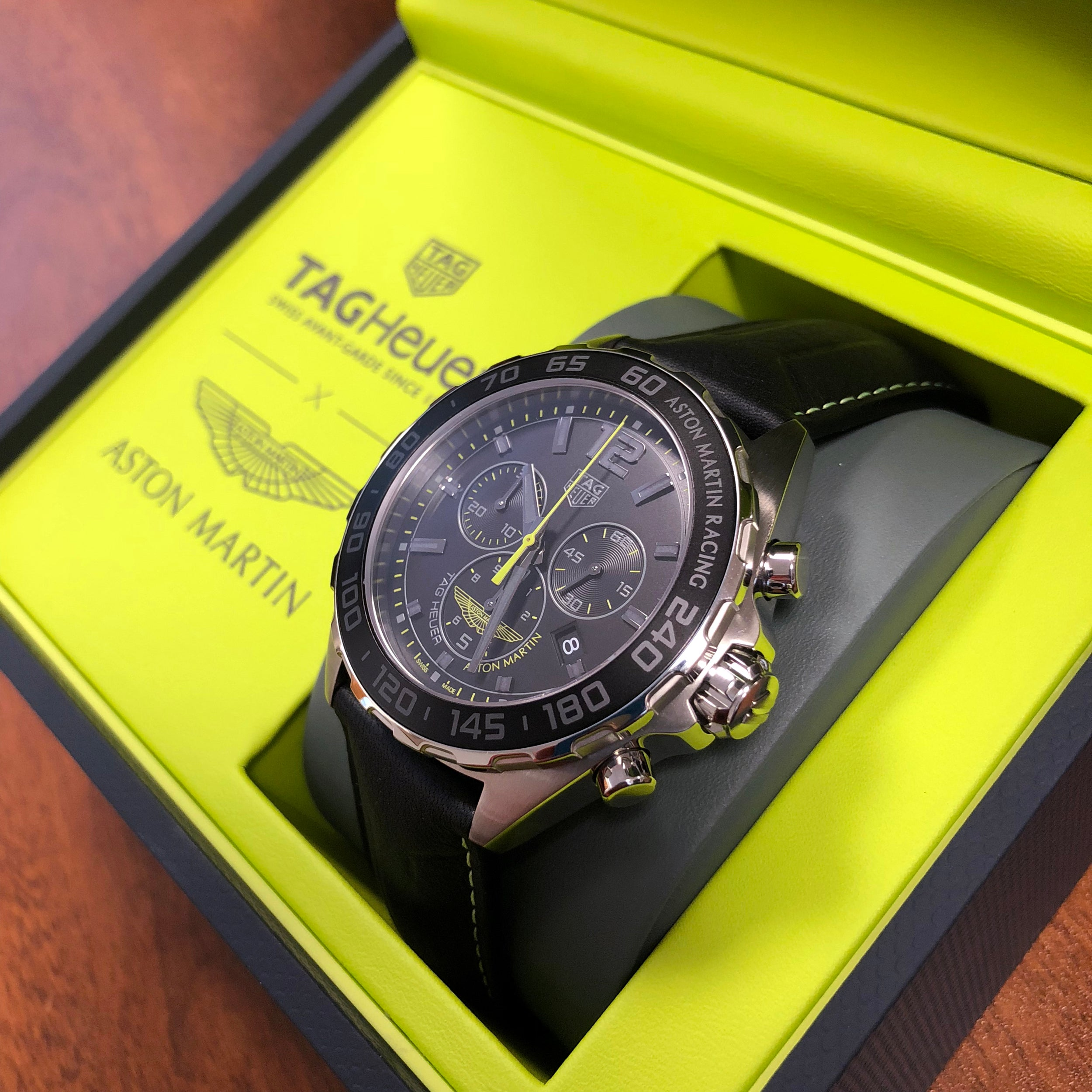 tag heuer formula 1 aston martin racing special edition watch 43mm