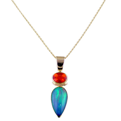 Ethiopian Opal, Pear Shape & Red Fire Opal Necklace Pendant