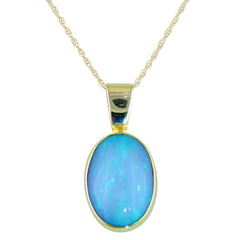 Ethiopian Opal Oval Necklace Pendant 22K & 14K Gold