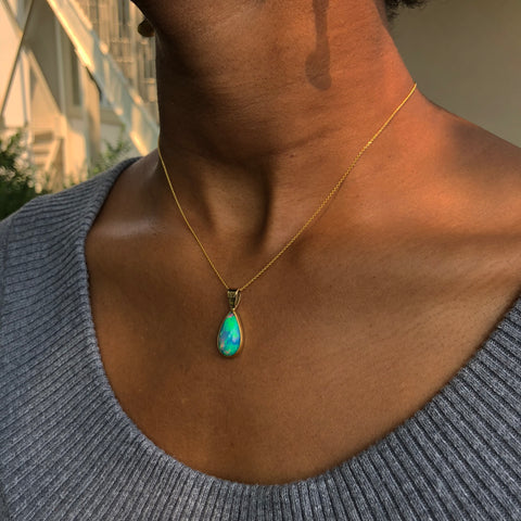 Ethiopian Opal Pear Shpe Necklace Pendant 22K & 14K Gold