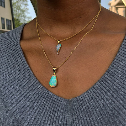 Ethiopian Freeform Opal & Diamond Necklace Pendant