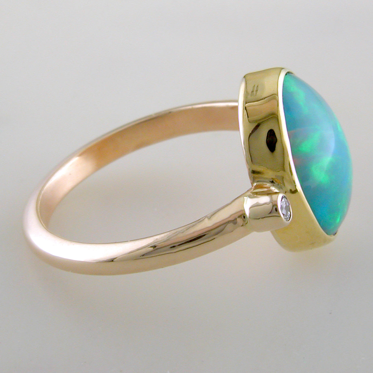 Ethiopian Opal Harlequin Oval Gold Ring