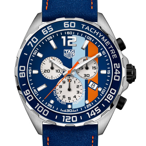 TAG Heuer Formula 1 Gulf Racing Special Edition Watch 43mm CAZ101N.FC8243