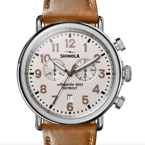 Shinola Statue of Liberty 47mm Mens Runwell Chronograph Watch Leather Strap 20109228-sdt