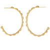 18K Yellow Gold Scalloped Diamond Hoop Earrings