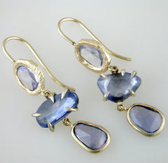 Triple Drop Freeform Sapphire Handmade Earrings
