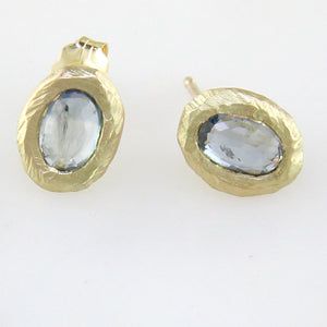 Oval Green-Blue Sapphire Handmade Stud Earrings