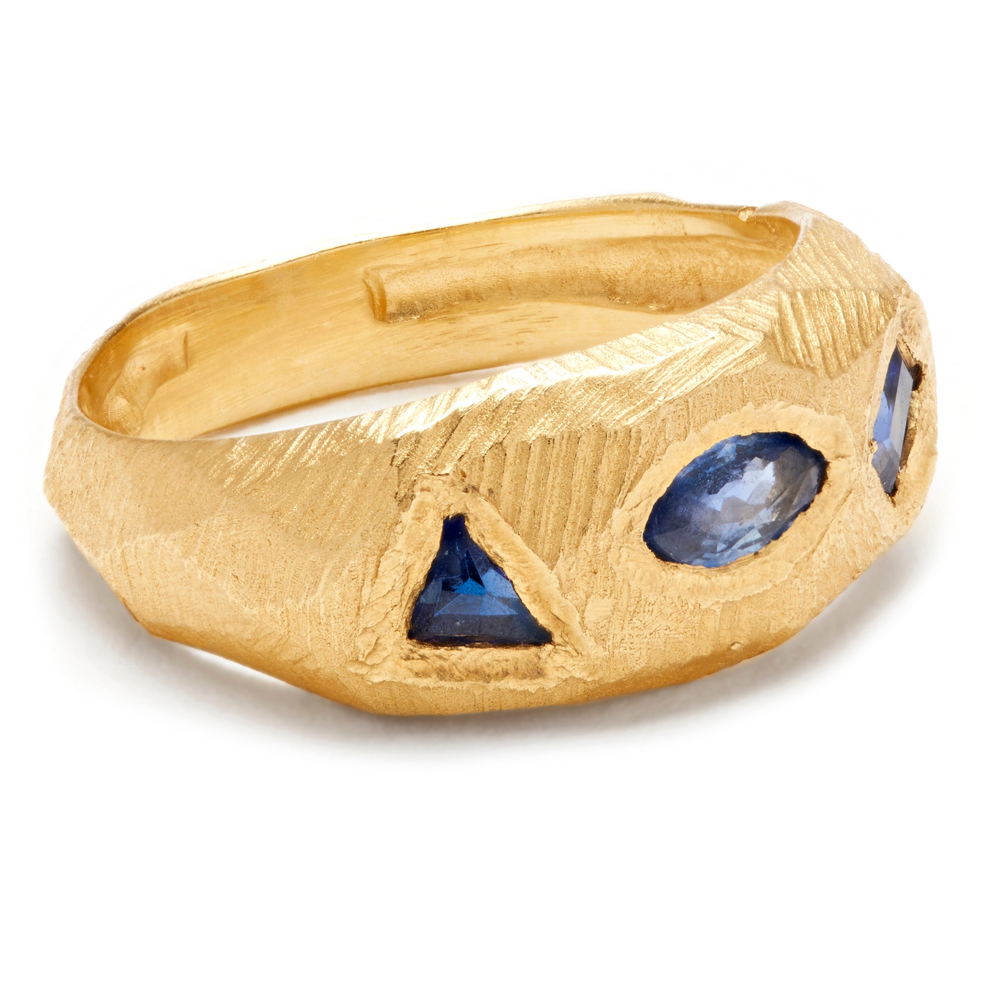 Page Sargisson Geometric Marquise Triangle Sapphire Handmade Ring