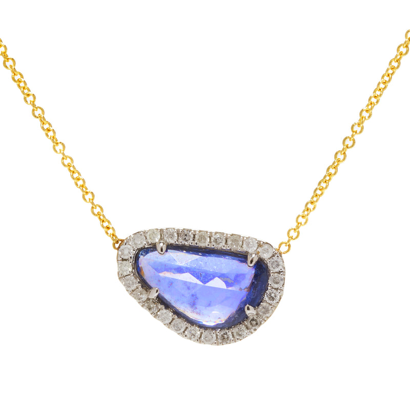 page sargisson Freeform Sapphire Diamond Halo Handmade Pendant Necklace