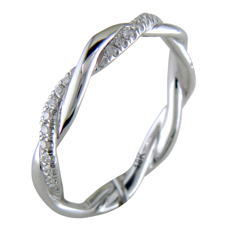 Custom Design Braided Diamond Eternity Band White Gold Ring