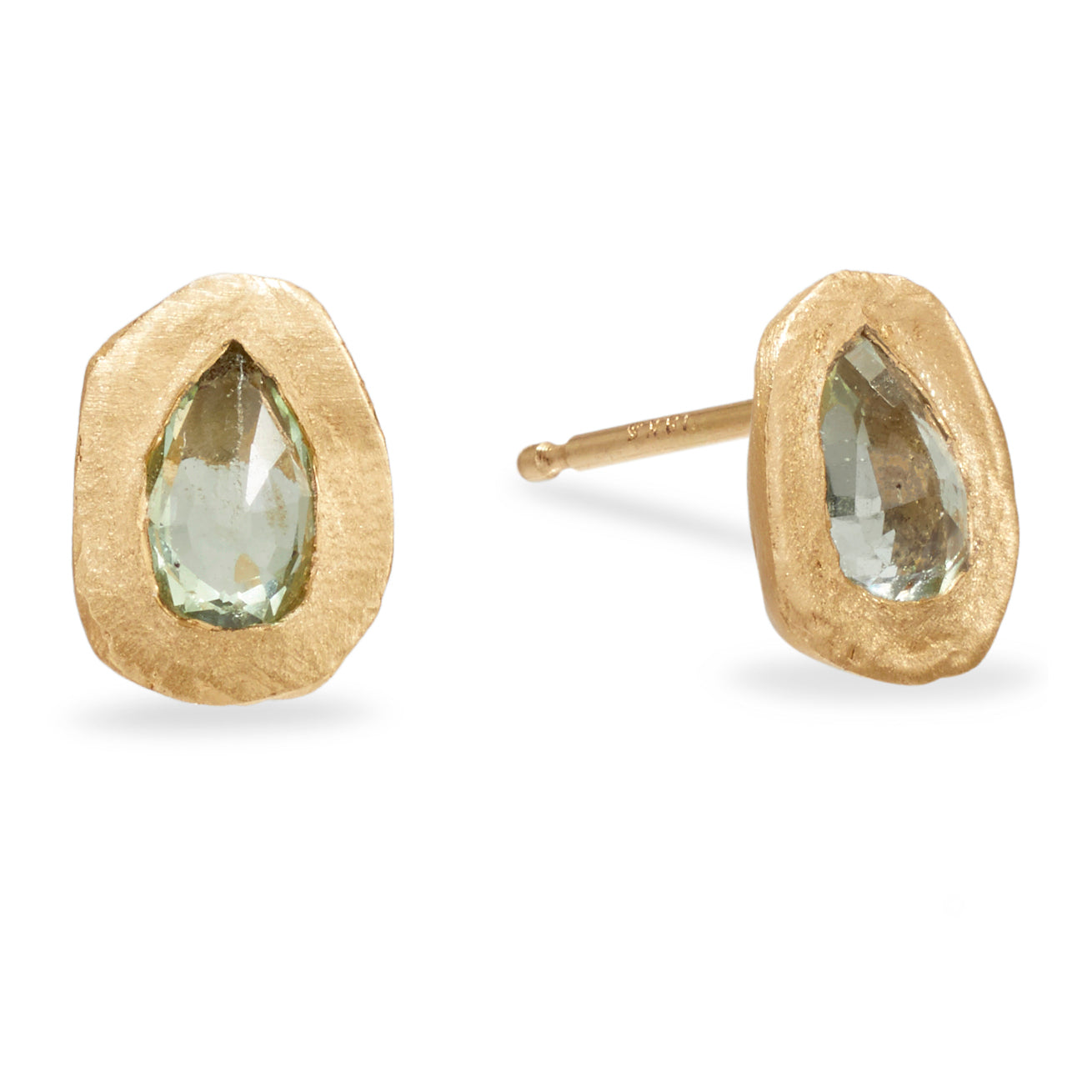 Pear Shape Green-Blue Sapphire Handmade Stud Earrings